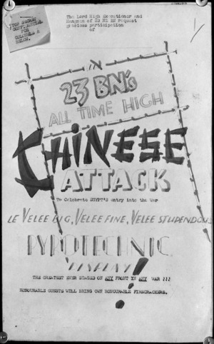 Cover sheet to the fire programme for the 'Chinese Attack' by 23 NZ Battalion on the Faenza Sector, Italy
