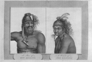 Piron :A man of New Zealand. A woman of New Zealand. Engraving, 1806