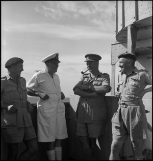 Senior officers on board transport en route to Italy, World War II