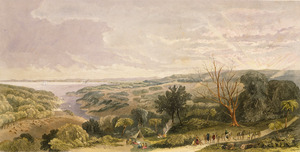 Stack, Frederick Rice :View from the ranges overlooking the entrance to the Manukau Harbour, Auckland. Drawn from nature by F. R. Stack, late Major of Brigade, Auckland. Day & Son, Lith. London, published by Day & Son [1862]