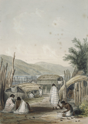 Smith, William Mein 1799-1869 :Courtyard in Pipitea Pa at Wellington. Drawn in 1842 by Captain William Mein Smith, R. A. Day & Haghe. London, Smith, Elder [1845]