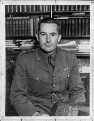 Major Clarence Farringdon Skinner, MP for Motueka, in Britain, World War II