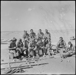 Mealtime with the NZ Railway Construction Company in the Western Desert, World War II