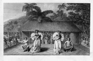 Webber, John, 1751-1793 :A dance in Otaheite. J. Webber del. J. K. Sherwin sculp. [London, 1784]