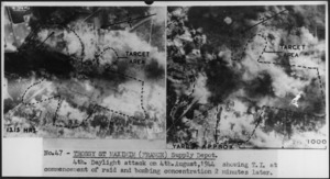 Photographs of target area and bombing concentration