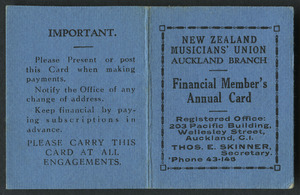 New Zealand Musicians' Union card