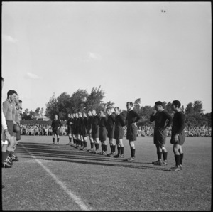 NZ Base rugby team line up with South African Base team before match at Maadi, Egypt, World War II - Photograph taken by George Bull