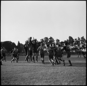Line-out in the NZ Base versus South African Base rugby match at the Maadi Sporting Club Ground, Egypt, World War II - Photograph taken by George Bull