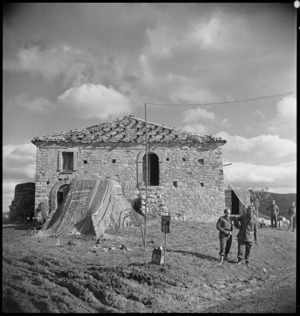 Building housing the NZ Divisional Artillery HQ for its first engagement on Italian battlefront, World War II - Photograph taken by George Kaye