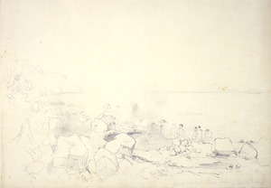 [Angas, George French] 1822-1886 :Natural hot bath Taupo Lake - Oct 25th 1844