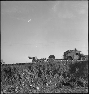 Tractor and a 25 pounder moving forward to Sangro River Front, Italy, World War II - Photograph taken by George Kaye