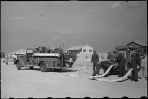 Members of NZ Maadi Camp Fire Unit during training, Egypt, World War II - Photograph taken by George Bull
