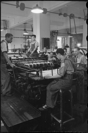 Printing the cover of NZEF Times in Cairo, Egypt, World War II - Photograph taken by George Bull
