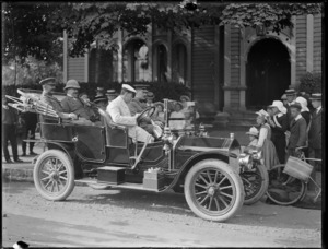 Motor car carrying Joseph Ward and others, outside the Christchurch Club, Christchurch