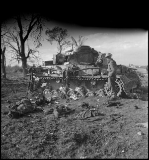 German Mark IV Special Tank knocked out during fighting on the Sangro River Front, Italy, World War II - Photograph taken by George Kaye
