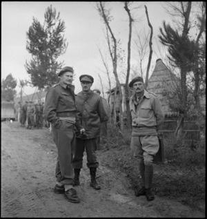 General Freyberg, Brigadier Weir and Brigadier Holebrook near the Italian Front, World War II - Photograph taken by George Kaye