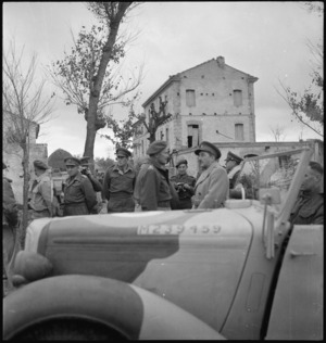 General Bernard Freyberg and General Sir Alan Brooke converse during British senior officers' visit to NZ Division, Italy, World War II - Photograph taken by George Kaye