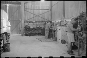 Repair section of the tank hangar at NZ Armoured Training School, Maadi, Egypt - Photograph taken by George Bull