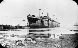 The ship River Clyde at V Beach, Capes Helles, Gallipoli, Turkey