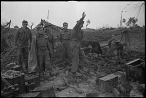 Scene showing difficult and muddy conditions experienced by New Zealand Artillery on the Italian Front, World War II - Photograph taken by George Kaye