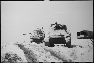 Snow covered tanks of 2 NZ Division on the Italian Front, World War II - Photograph taken by George Kaye