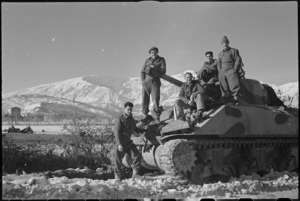 Crew of New Zealand tank on the Italian Front, World War II - Photograph taken by George Kaye
