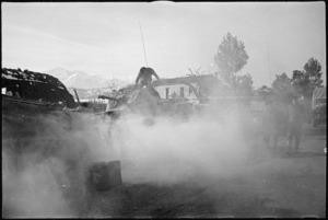 Sherman tanks of the NZ Division warming up for work on the Orsogna Front, Italy, World War II - Photograph taken by George Kaye