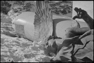 Statue lying in the snow in the forward areas of the Italian Front, World War II - Photograph taken by George Kaye