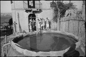 New Zealanders out of the line in Italy await a hot shower, World War II - Photograph taken by George Kaye