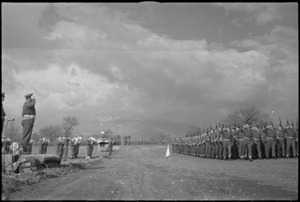 General Freyberg takes salute at march past of 6 NZ Infantry Brigade in the Volturno Valley, Italy, World War II - Photograph taken by George Kaye