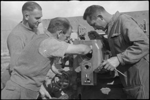 New Zealand Artillery gunners carry out maintenance in the Volturno Valley area, Italy, World War II - Photograph taken by George Kaye