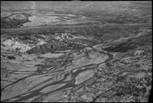 Aerial view of the Sangro River looking towards the NZ Division area, Italy, World War II - Photograph taken by George Kaye