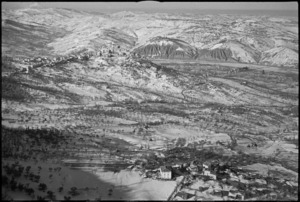 Aerial view showing the Sangro River in the valley below, Italy - Photograph taken by George Kaye