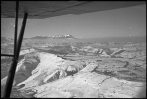 Aerial view looking towards Orsogna with the 'Rock of Italy' in the distance - Photograph taken by George Kaye