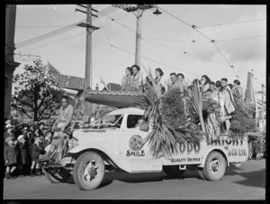 Waka float during a parade in Christchurch for the coronation of King George VI