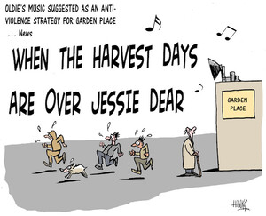 """Oldie's music suggested as an anti-violence strategy for Garden Place - News. """"When the harvest days are over Jessie dear."""" 9 July 2009"""