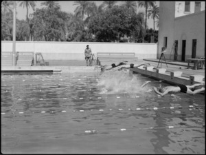 Start of heat in 50 metres free style at 19 NZ Armoured Regiment swimming sports, Cairo - Photograph taken by G Kaye