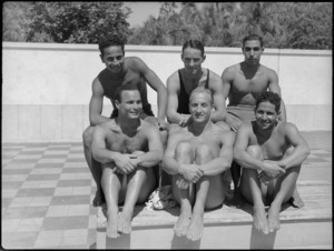 Exhibition diving team at 19 NZ Armoured Regiment swimming sports, Cairo - Photograph taken by G Kaye