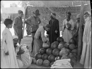 New Zealand soldiers buying melons in Cairo during World War II - Photograph taken by George Kaye
