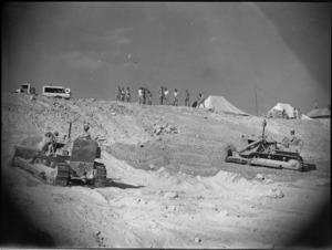 Bulldozers working on site of El Djem Theatre in Maadi Camp, Egypt - Photograph taken by George Kaye
