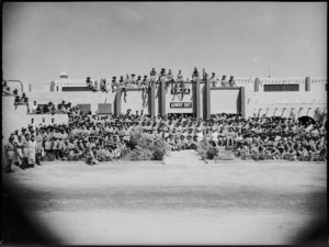 Officers, men and guests celebrate 2nd anniversary of the Lowry Hut, Maadi Camp, Egypt - Photograph taken by George Kaye