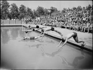 Start of the novelty race at 5 NZ Field Regiment's swimming sports at Maadi Baths, Egypt - Photograph taken by George Kaye