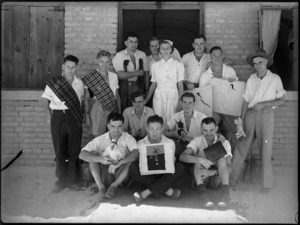 Patients with Occupational Therapist, Eva Patchett, at 2 NZGH Kantara, Egypt - Photograph taken by George Kaye