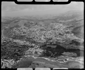 Aerial view over Karori, Wellington, New Zealand
