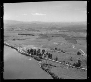 Mercer coal fired Power Station under construction on the banks of the Waikato River, farmland beyond, Waikato Region