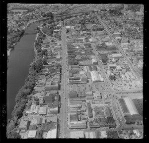 Hamilton City with the Waikato River and Bridge Street Bridge, with Victoria and Anglesea Streets, Waikato Region