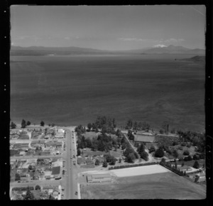 Taupo, includes view of lake, roads, township, housing and Mt Ruapehu