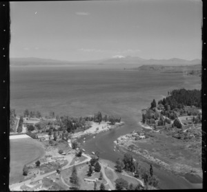 Taupo, includes view of lake, roads, waterway, boats, housing and Mt Ruapehu