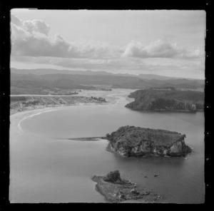 Whangamata Harbour with Maukaha and Hauturu Islands and the Wentworth River beyond, Whangamata, Thames-Coromandel District