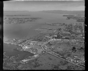 Mangere Inlet with Neilson Road and Te Papapa looking to the Manukau Harbour, Onehunga, Auckland City